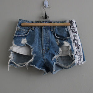 LF The Brand Distressed Shorts